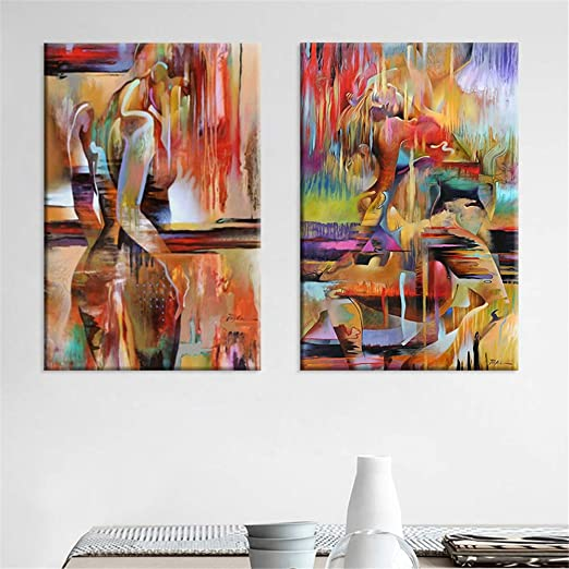 Amazon Com Gsmwy Abstract Nude Wall Art Woman Body Canvas Painting Poster Prints Modern Wall Pictures Oil Paintings For Living Room Wall Decor 2 Pieces 40x60cm No Frame Posters Prints