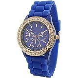 PromiseU Fashion Silicone Golden Crystal Stone Quartz Ladies Jelly Wrist Watch