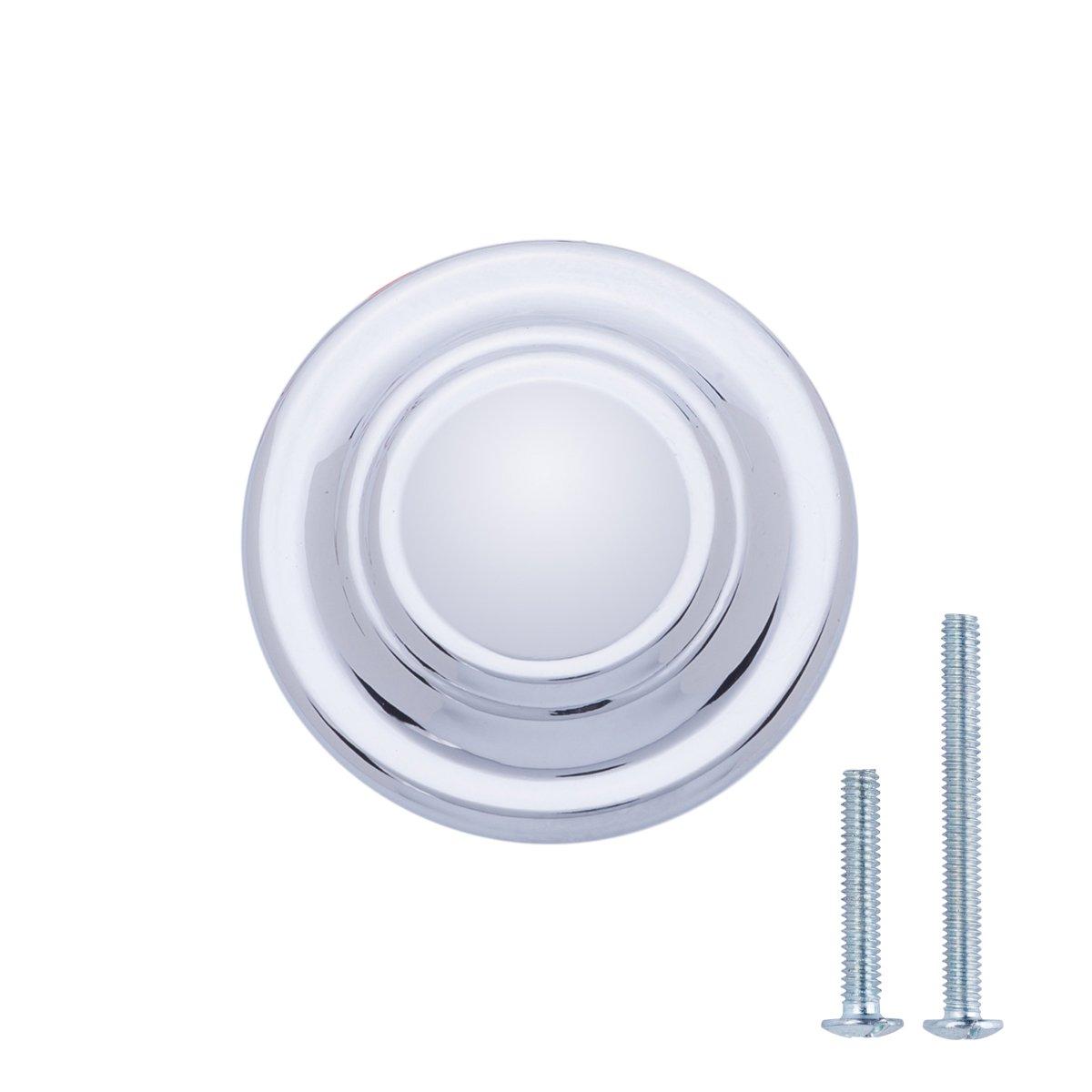 AmazonBasics Traditional Top Ring Cabinet Knob, 1.25'' Diameter, Polished Chrome, 25-Pack