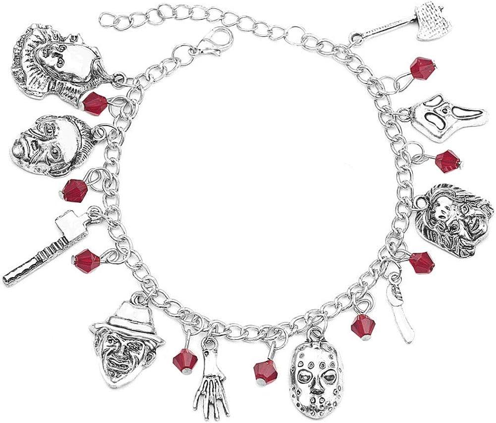 Byondever Freddy Krueger Jason Bracelet American Horror Story Classic Horror MoviesCosplay Charm BraceletFans Jewelry for Men Women Girls