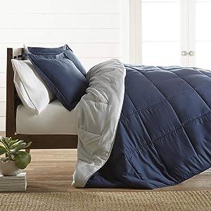 ienjoy Home Premium Down Alternative Reversible Comforter Set, Full/Queen, Navy