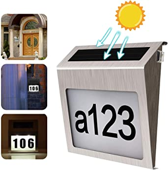 Outdoor Wall 2 Led Lights Solar Powered House Number /&Letter Display Plaque//Sign