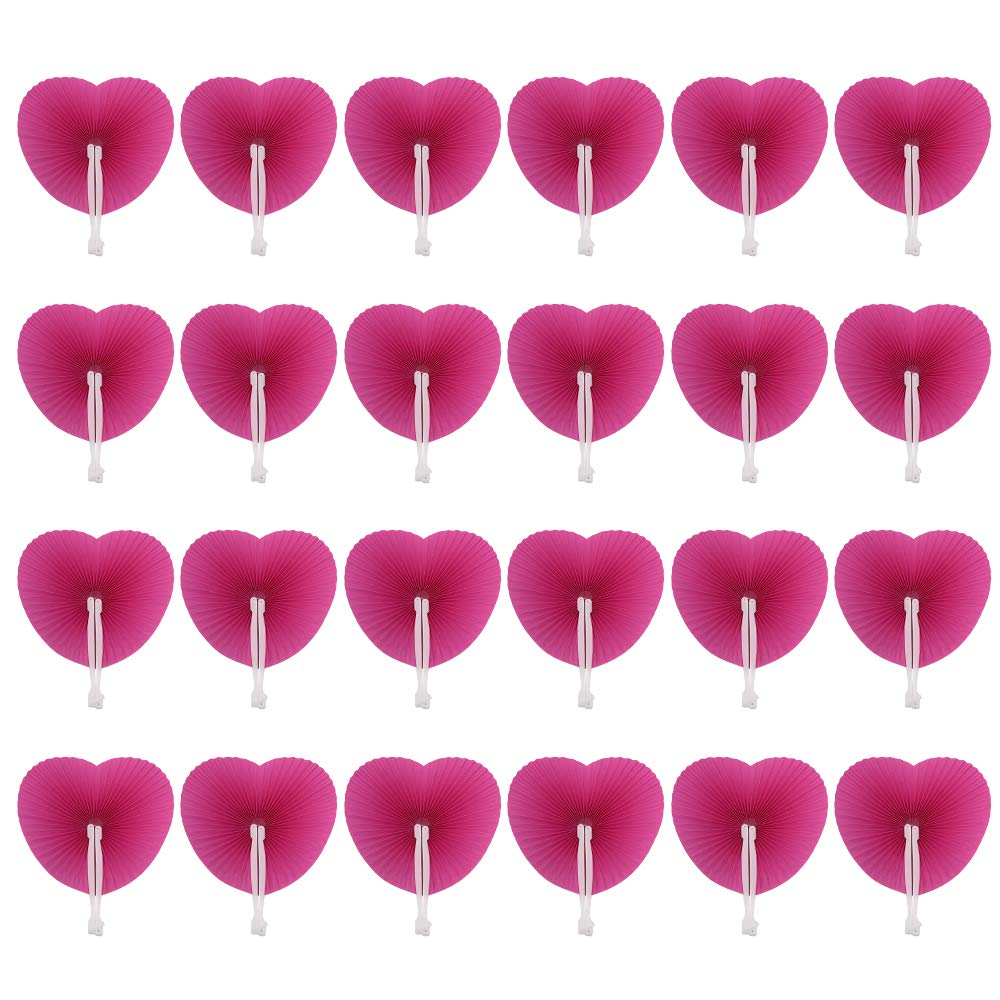 24 Pack Folding Fans Paper Fans Heart Shaped Assortment with Plastic Handle for Wedding Favor Party Bag Filler, Hot pink Md trade