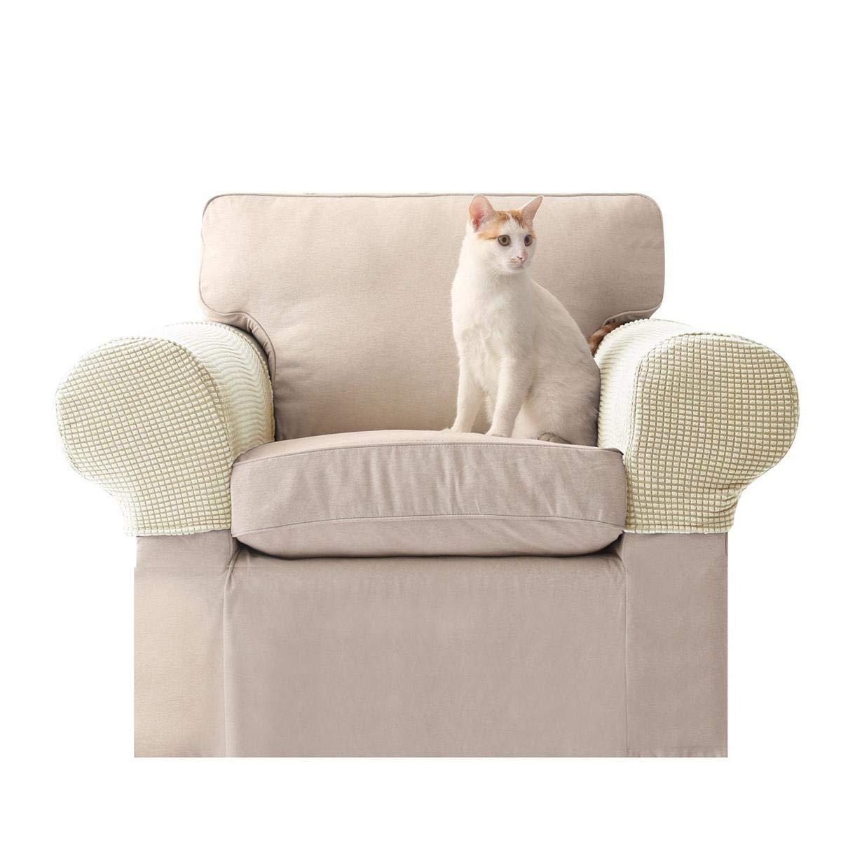 Umiwe Fundas elásticos de reposabrazos y poliéster de spandex para sillones, sofá y silla set 2 crema