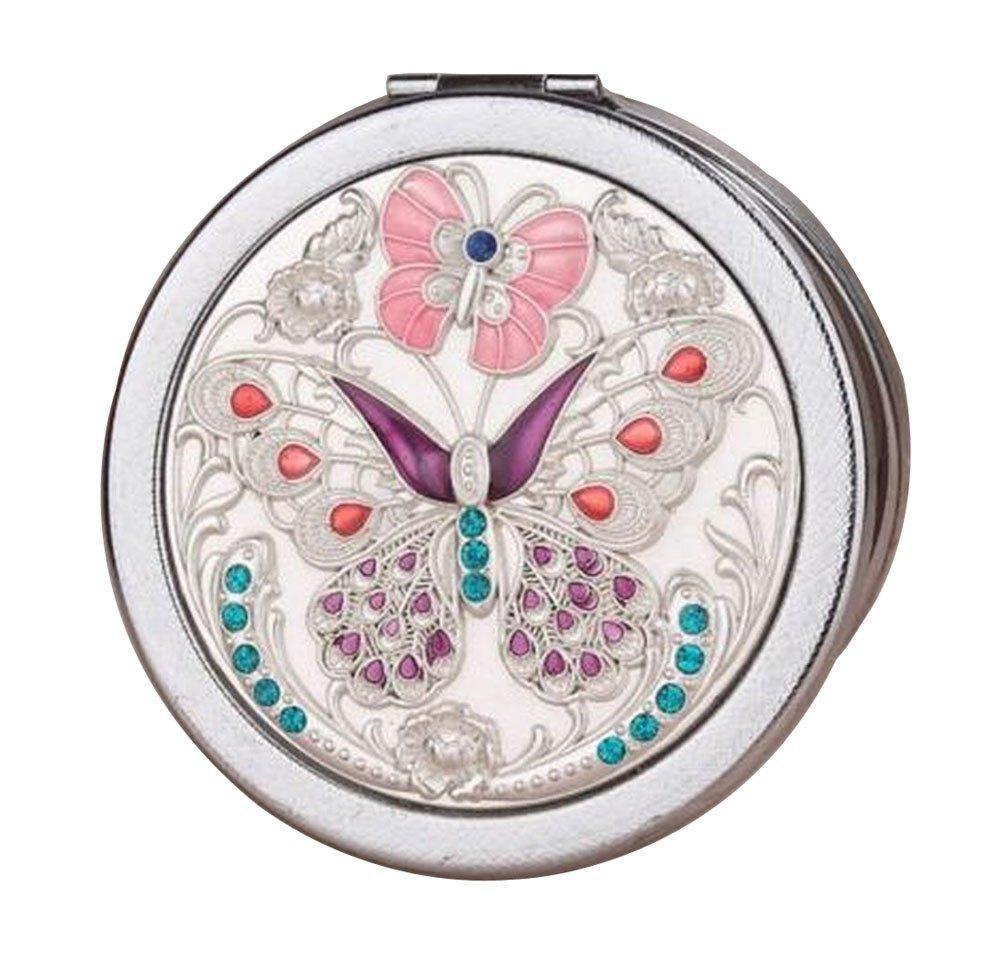 Weinlese-runder kompakter Spiegel-Handtaschen-Spiegel, Schmetterlings-Silber Black Temptation