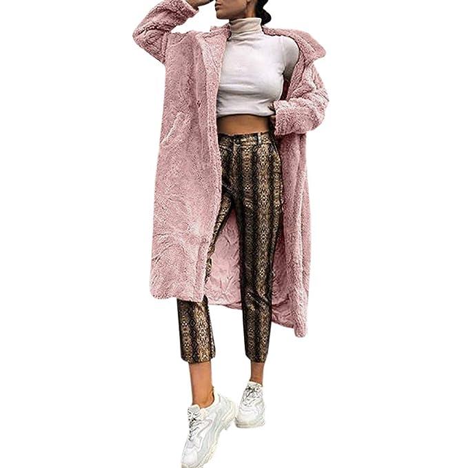 BHYDRY Abrigo Largo de Piel de Mujer Abrigo de Manga Larga Abrigo cálido de Invierno Abrigo Grueso de Mujer: Amazon.es: Ropa y accesorios