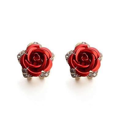 Jewelry & Accessories Stud Earrings Flower Casual Rhinestone Women Push Back Pierced Ear Stud Earrings