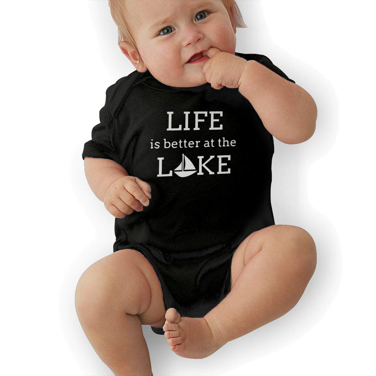 Short Sleeve Cotton Bodysuit for Baby Girls Boys Cute Life is Better On The Lake Playsuit