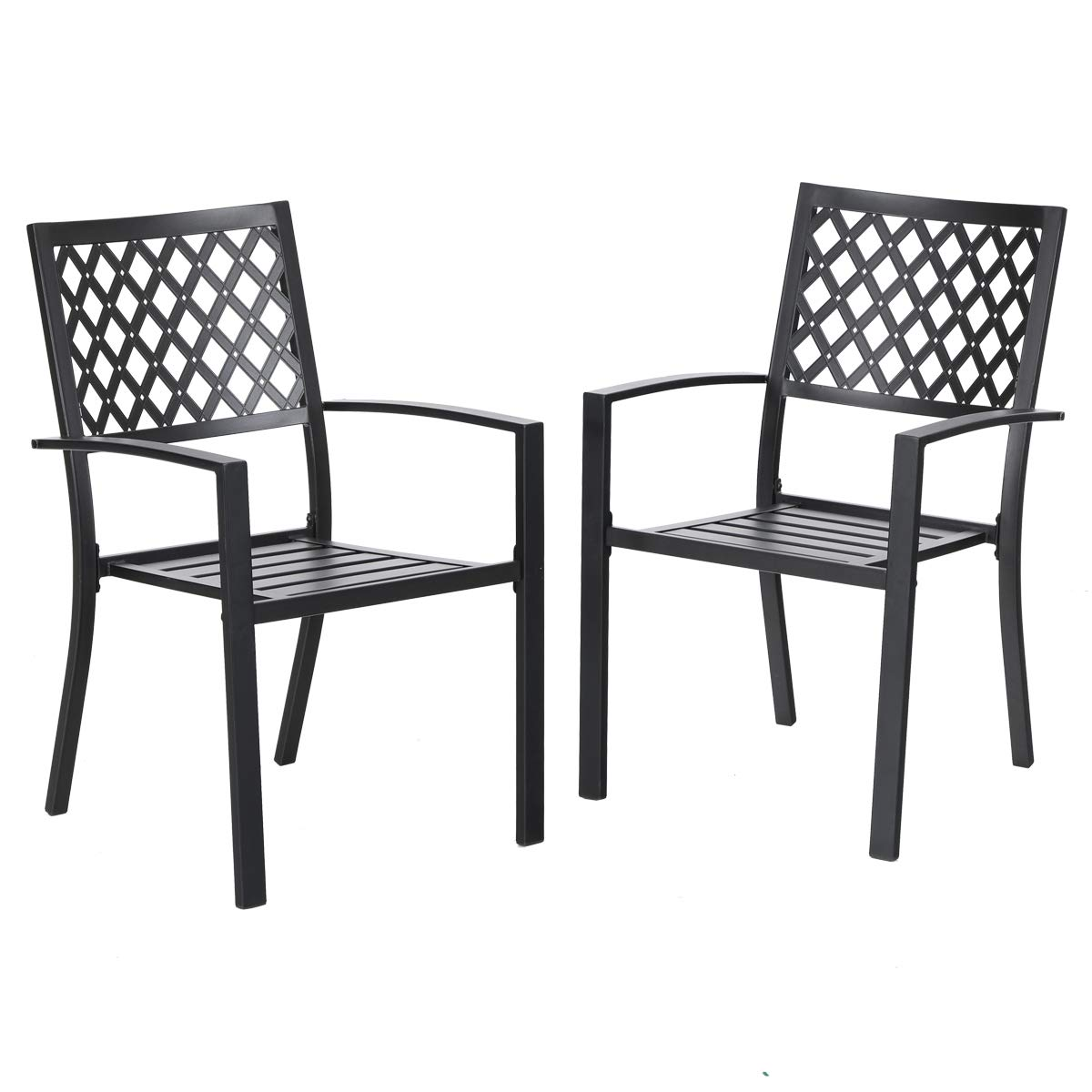PHI VILLA 300lbs Wrought Iron Outdoor Patio Bistro Chairs with Armrest for Garden,Backyard - 2 Pack by PHI VILLA