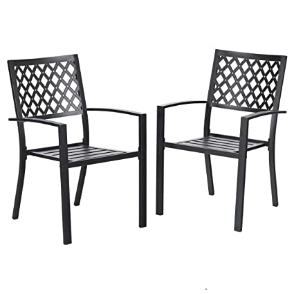 Charmant Amazon.com : PHI VILLA 300lbs Wrought Iron Outdoor Patio Bistro Chairs With  Armrest For Garden, Backyard   2 Pack : Garden U0026 Outdoor
