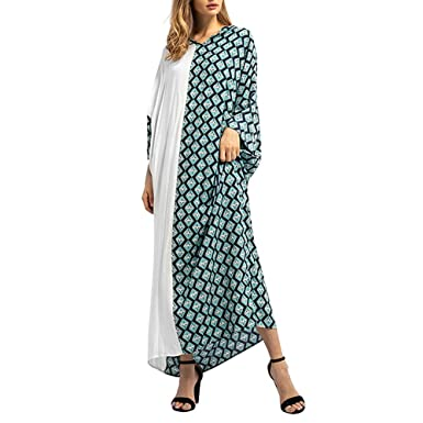 eff4a9ad55 Happy-Day Women Maxi Dress Shirtdress Islamic Muslim Middle East Cotton  Robe Loose Fit Lattice Print Long Sleeve Dress  Amazon.co.uk  Clothing