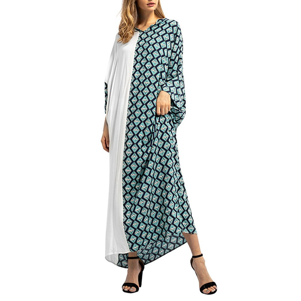 Clearance Womens Clothing WEUIE Women Lattice Print Long Dress Islamic Muslim Middle East Maxi Robe Dresses (XL, Green )