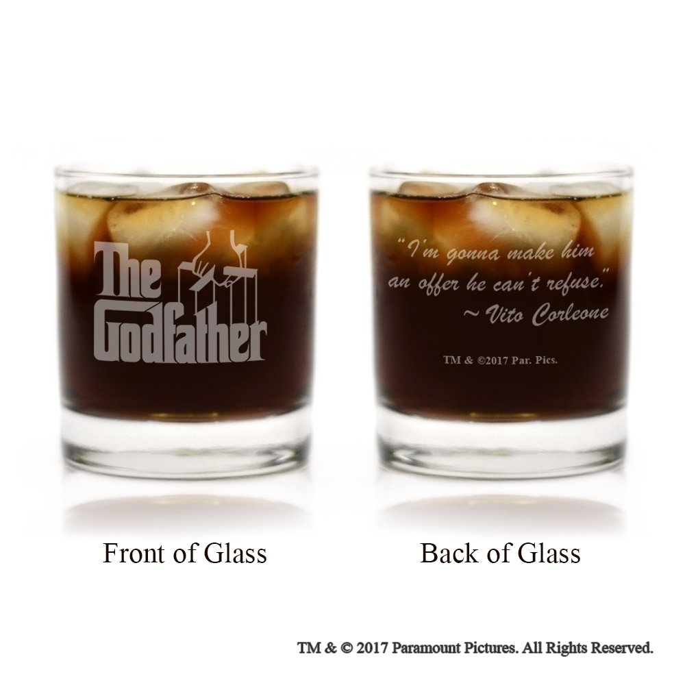 Movies On Glass - The Godfather Movie Logo With Quote,I'm Gonna Make Him an Offer He Can't Refuse, Engraved Cocktail Glass