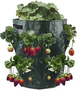 Toyfun 10 Gallon Strawberry Planter Bag Gardens Hanging Strawberry Planter with 8 Pocket for Growing Potato Outdoor Vertical Garden Hanging Open Style Vegetable Planting Grow Bag with Handles