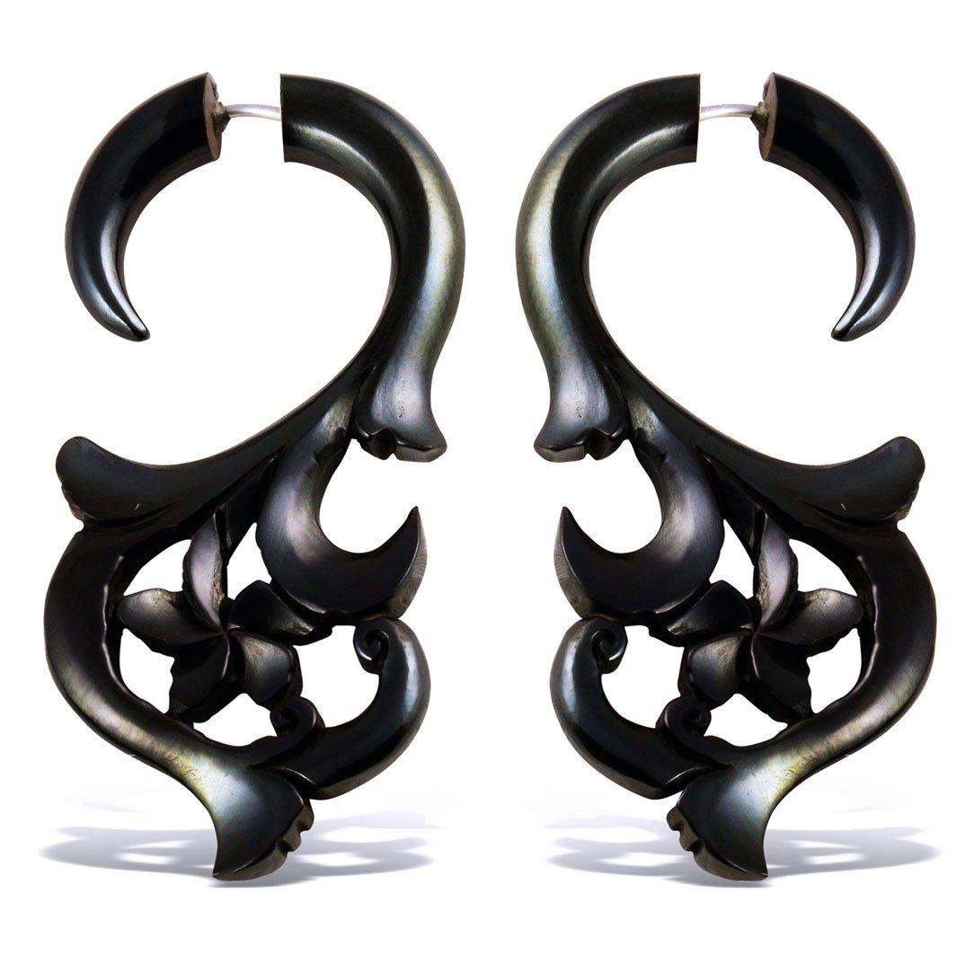 Fake Gauge Earrings Hand Carved Horn Plumeria Curls Fake Plugs Coco Loco Jewelry EFH-068 Medium