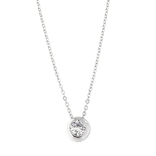 Solid Sterling Silver Bezel Set Cubic Zirconia Solitaire Pendant Necklace, 18 Inches
