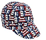 Mutual Industries 00210-00000-7125 Kromer Red White Blue USA Style Welder Cap, Cotton, Length 5'', Width 6''