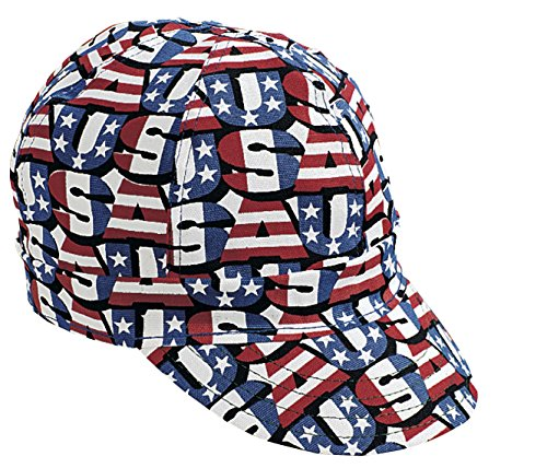 (Mutual Industries 00210-00000-0725 Kromer Red White Blue USA Style Welder Cap, Cotton, Length 5