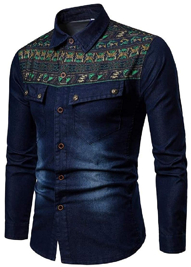 Wofupowga Mens Washed Denim Long Sleeve Casual Button Up Splice Shirts