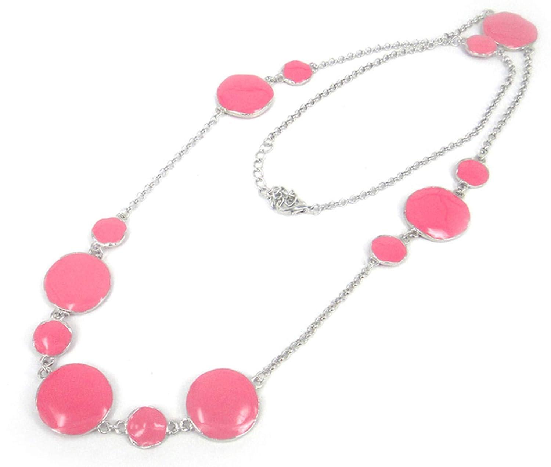 salmoph cadia Enamel Big Small Round Metal Rhodium Chain Epoxy Necklace Women Long Necklaces