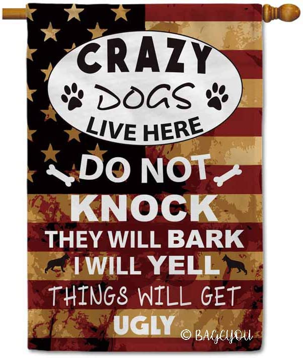 BAGEYOU Crazy Dogs Live Here Do Not Knock Sign Decorative House Flag for Outside Puppy Paw Bone Home Decor Yard Banner with American Flag 28x40 Inch Printed Double Sided