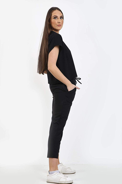 janisramone Womens Ladies New Round Neck Short Sleeve Baggy Top Bottom 2 Pcs Co-ord Set Loungewear Tracksuit