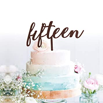 Amazon Com Grantparty Fifteen Rose Gold Cake Topper 15th Birthday