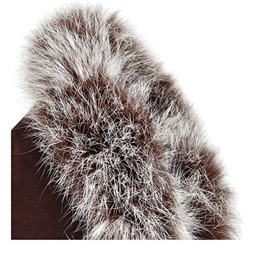 Marrone HScarponi tacco alto non stivali a cinturino tamburo nero invernali XIAOGANG 39 anteriore H grosso slip brown donna satinato snow vqxPw51