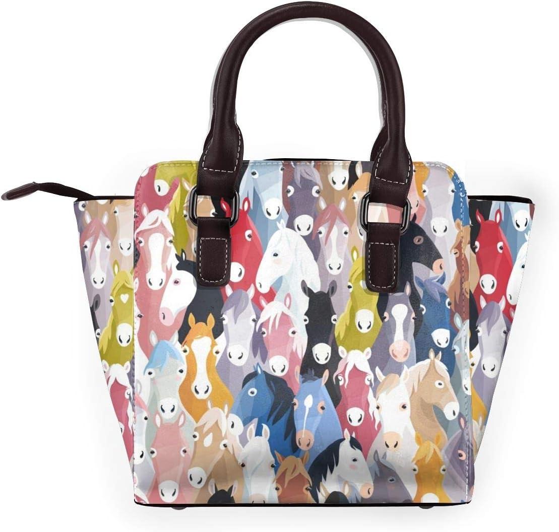 GHUJAOOHIJIO Colourful Cartoon Horses Womens Rivet PU Leather Tote Bag Shoulder Bag Purse