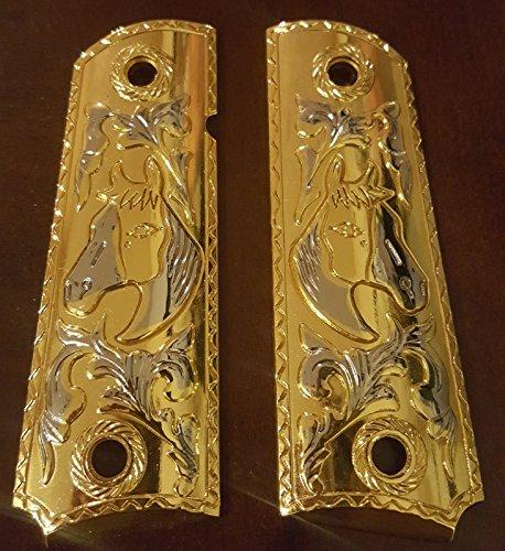 (Tek Tactical Luxury For 1911 COLT PISTOL GRIPS Full Size Gold Nickel Plated 1911 Commander)