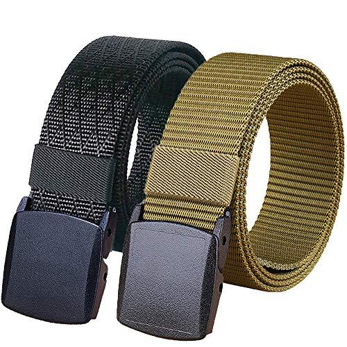 - Hoanan 2 Pack Military Nylon Belt, No Metal Webbing Tactical Web Belt 1.25