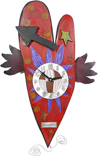 Modern Artisans 'Time Flies' Folk Art Heart Wall Clock