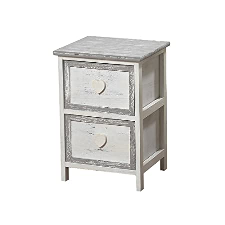 Small Heart White Grey Shabby Chic Country Style Side Table/Bedside Cabinet