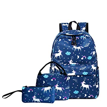 S//4 Unicorn Kids Schoolbag Girls Backpack Insulated Lunch Bag Pen Bags Wholesale