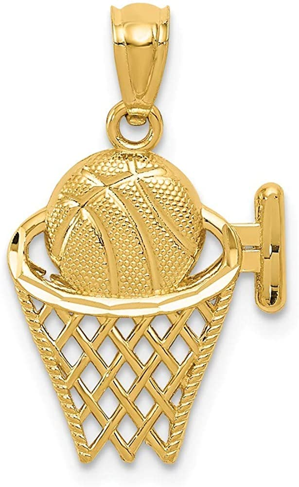 14k Yellow Gold Polished Open back Sparkle Cut Basketball in the Net Pendant Necklace Measures 21.5x13.1mm Jewelry Gifts for Women 61PlSILYewLUL1000_