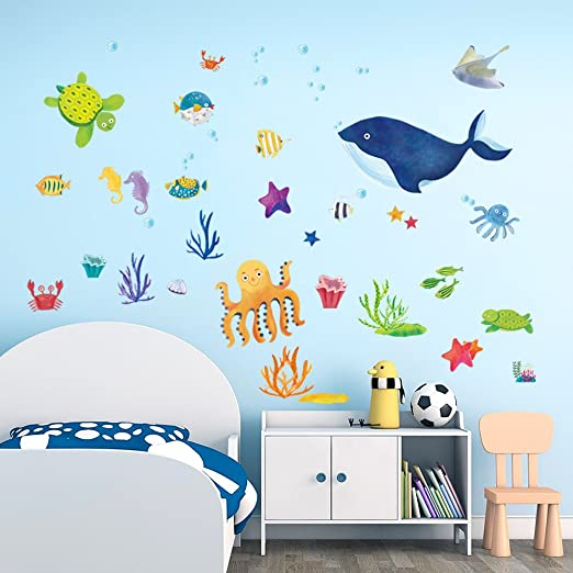 decalmile Under The Sea Wall Stickers Blue Whale Octopus Fish Kids Room  Wall Decor Vinyl Removable Wall Decals for Kids Bedroom Nursery Baby Room  ...