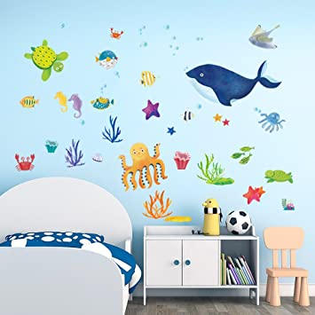 Amazoncom Decalmile Under The Sea Wall Stickers Blue Whale Octopus