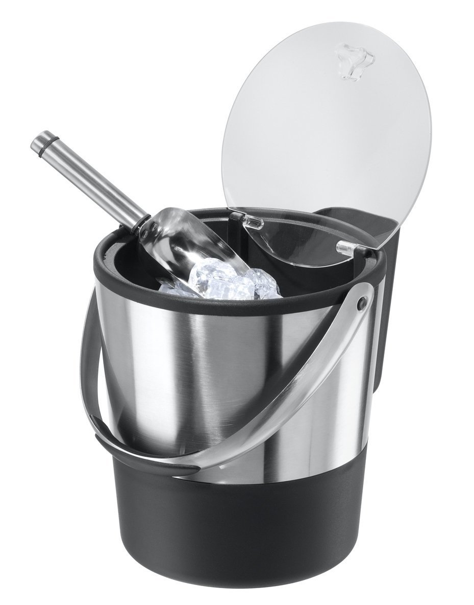 Oggi Double Wall Ice Bucket with Flip Lid and Stainless Ice Scoop (Pack of 2)
