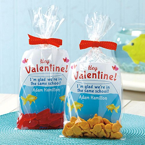 Personalized Fishbowl Valentines, Clear Treat bags, Clear Twist Ties - Set of 24]()