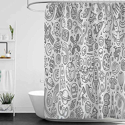 homecoco Baby Blue Shower Curtains for Bathroom Boys,Astro Sketch Abstract Planets in -