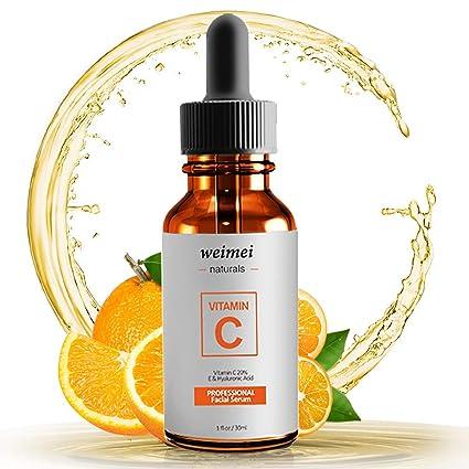 Vitamina C cara de suero con ácido hialurónico, vitamina E, 20% vitamina C
