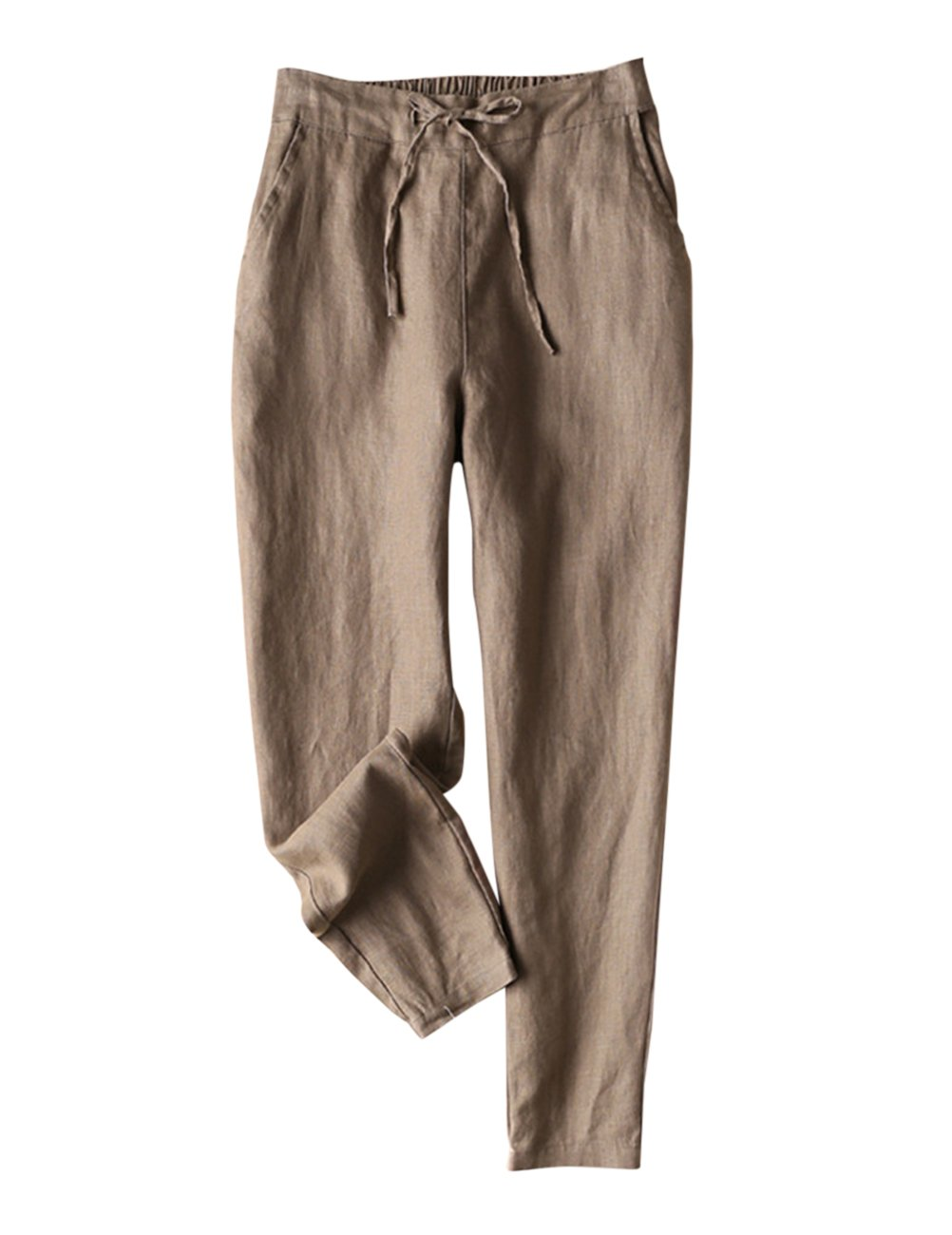 IXIMO Women's Tapered Pants 100% Linen Drawstring Back Elastic Waist Pants Trousers with Pockets Dark Khaki 12