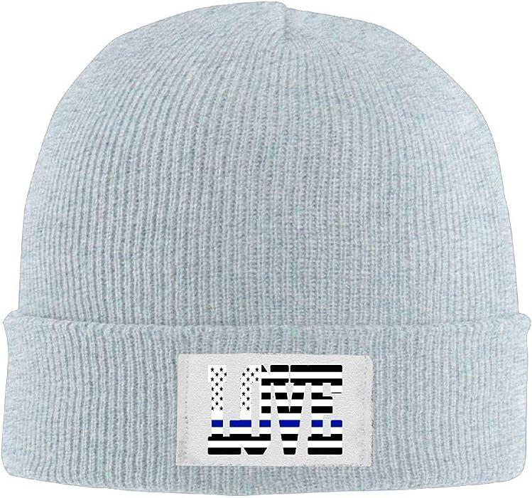 6f282dd2c5d Mens Womens Knit Beanie Hats I Love Thin Blue Line US Flag Warm Winter  Skull Caps at Amazon Men s Clothing store