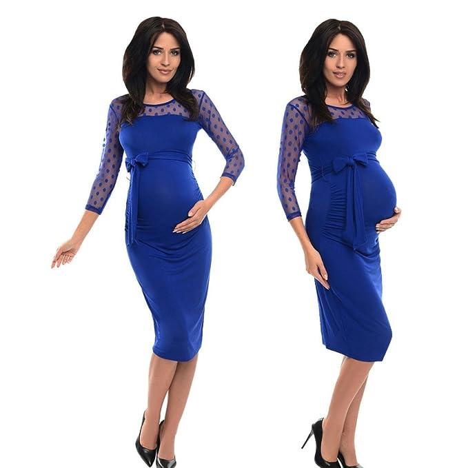Rawdah Vestido de embarazo maternidad con volantes maternidad con lunares vestido de moda de encaje Vestido