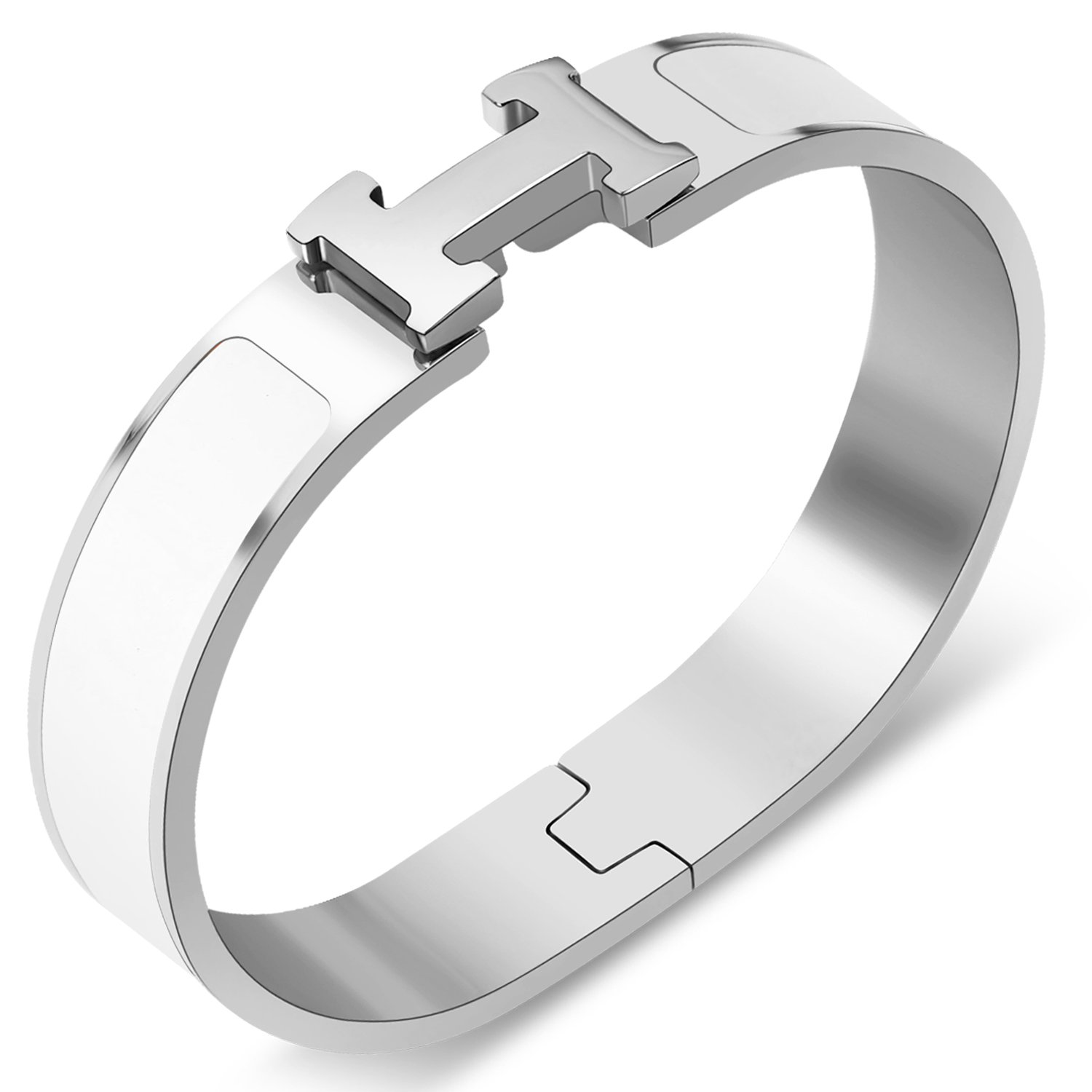 Yeemer Colorful Buckle Bracelet Bangle for Women, Couple, Girls, Mom and Teens (Silver&White color)