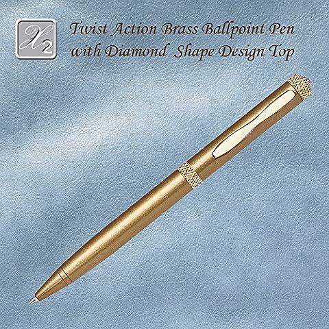 Twist Action Ballpoint Pen With Diamond Accent, Satin Gold - Brass Ballpoint Twist Action Pen