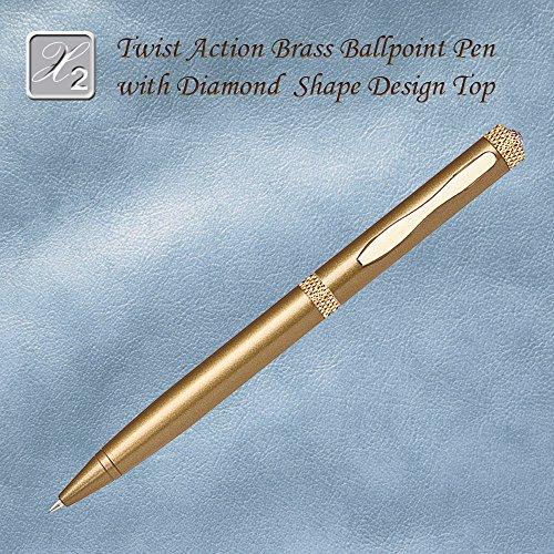 (Twist Action Ballpoint Pen With Diamond Accent, Satin Gold)