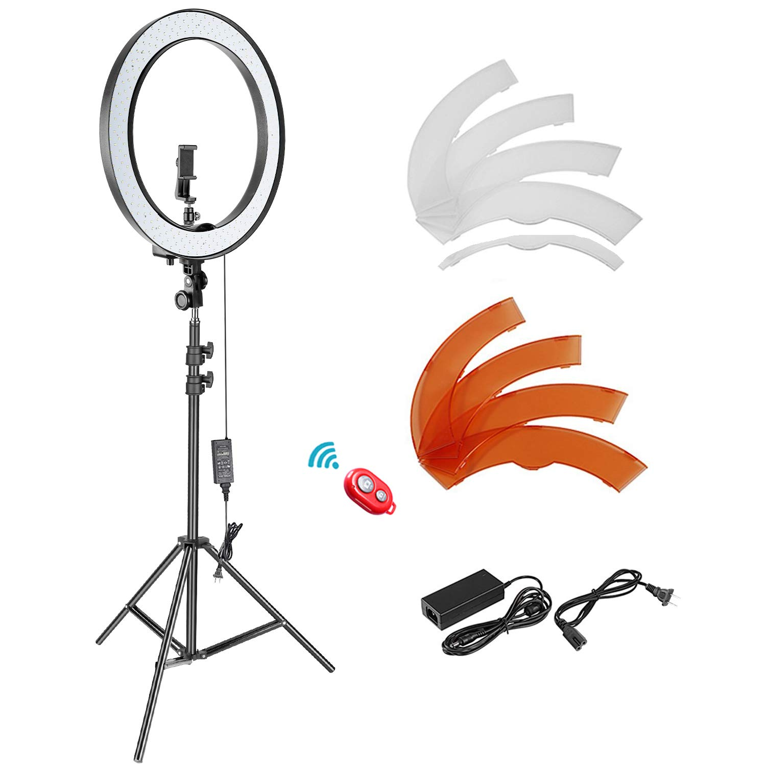 Neewer 18-inch Outer Dimmable SMD LED Ring Light Lighting Kit with 78.7 inches Light Stand, Phone Holder, Hot Shoe Adapter for Portrait YouTube Video Shooting (No Carrying Bag)