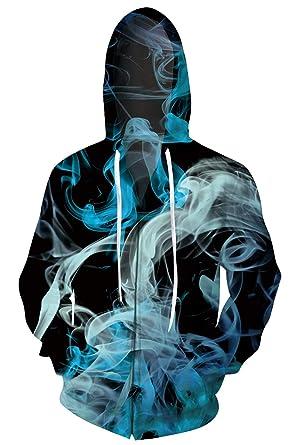 4a7d94612235 UNIFACO Teen Boy Girl 3D Zipper Hoodie Sweatshirt 3D Printed Colorful Smoke  Outdoor Top Clothes Fun