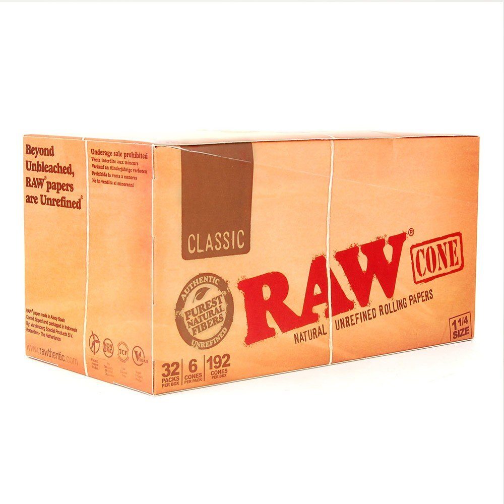 1-1/4'' RAW Pre-Rolled Cones (2 Cases - 32 packs per box; 6 cones per pack) - MJ-1203 by Verified Exchange (Image #1)